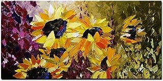 HYFBH Modern Abstract HD Print Flower Van Gogh Girasol Pintura sobre lienzo Cuadro de pared Póster Artístico para decoración de sala de estar-60x90cm con marco