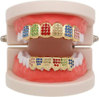 ❤️Yanvan❤️Clearance Sale! 1 Pair (Upper/Lower) Hip hop Teeth,Rainbow Hip Hop Teeth Top Bottom Tooth Grill Set Copper Tooth Cap Jewelry for Teeth Mouth Grills Fashion Dental Removable (Gold)