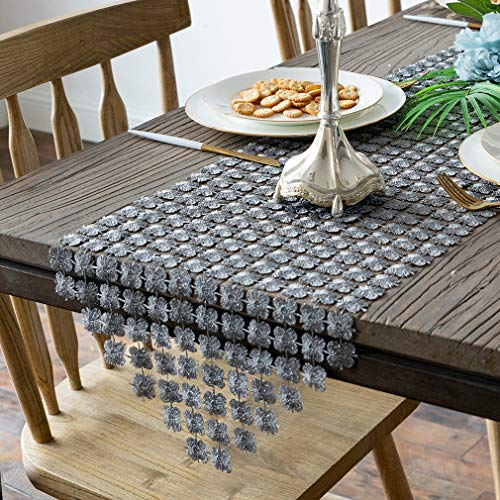 Valea Home Table Runners 12 x 72 Inch Glitter Clover Table Runner for Kitchen Wedding Bridal Shower DecorationsSilver Grey