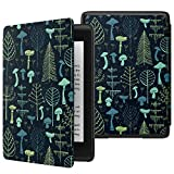 MoKo Case Fits K i n d l e Paper w h i t e (10th Generation, 2018 Release), Thinnest Lightest Smart Shell Cover with Auto Wake/Sleep for K i n d l e Paper w h i t e E-Reader 2018 - Mushrooms & Forest