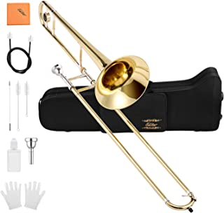Eastar ETB-330 Bb Tenor Trombone Brass with Hard Case Mouthpiece Cleaning Kit & Care Kit Standard Student Beginner Trombone