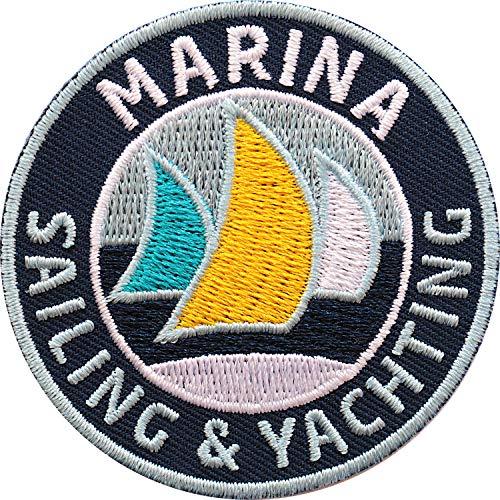 2 x Sailing & Yachting Abzeichen 60 mm gestickt / Marina Segeln Segler Segelboot Schiff Boot Wassersport / hochwertige Aufnäher Aufbügler Sticker Flicken Bügelbild Patch für Kleidung Tasche Rucksack