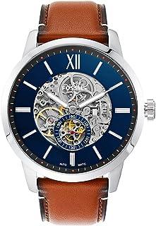 ساعة تاونسمان بمينا ازرق وبسوار جلدي اتوماتيكيةللرجال من فوسيل - ME3154