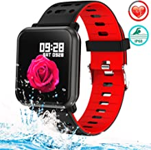 Man Woman Fitness Tracker Smart Watch Wearable Running Activity Tracker with 8 Sport Modes All-Day Heart Rate Blood Pressure Sleep Monitor IP68 Waterproof Color Display Sport Wristband Android iOS