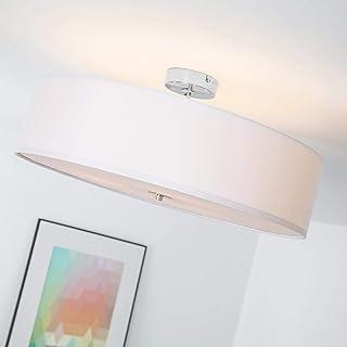 Lámpara de techo moderna con pantalla textil, 3 llamas, Ø 60 cm, 3x E27 max. 60W, Metal/Textil, Cromo/blanco