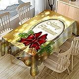 Mantel navideño, Funda Rectangular para Mesa de Comedor Impermeable y a Prueba de Aceite, Apto para Cocina y Mesa de Centro M-1 140x160cm