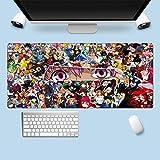 MSLFZ Tapis de Souris,Étendu Bord Verrouillé Anime Encyclopédie Tapis D'Ordinateur Portable Grand Tapis De Clavier Vitesse Amélioration De La Précision XL