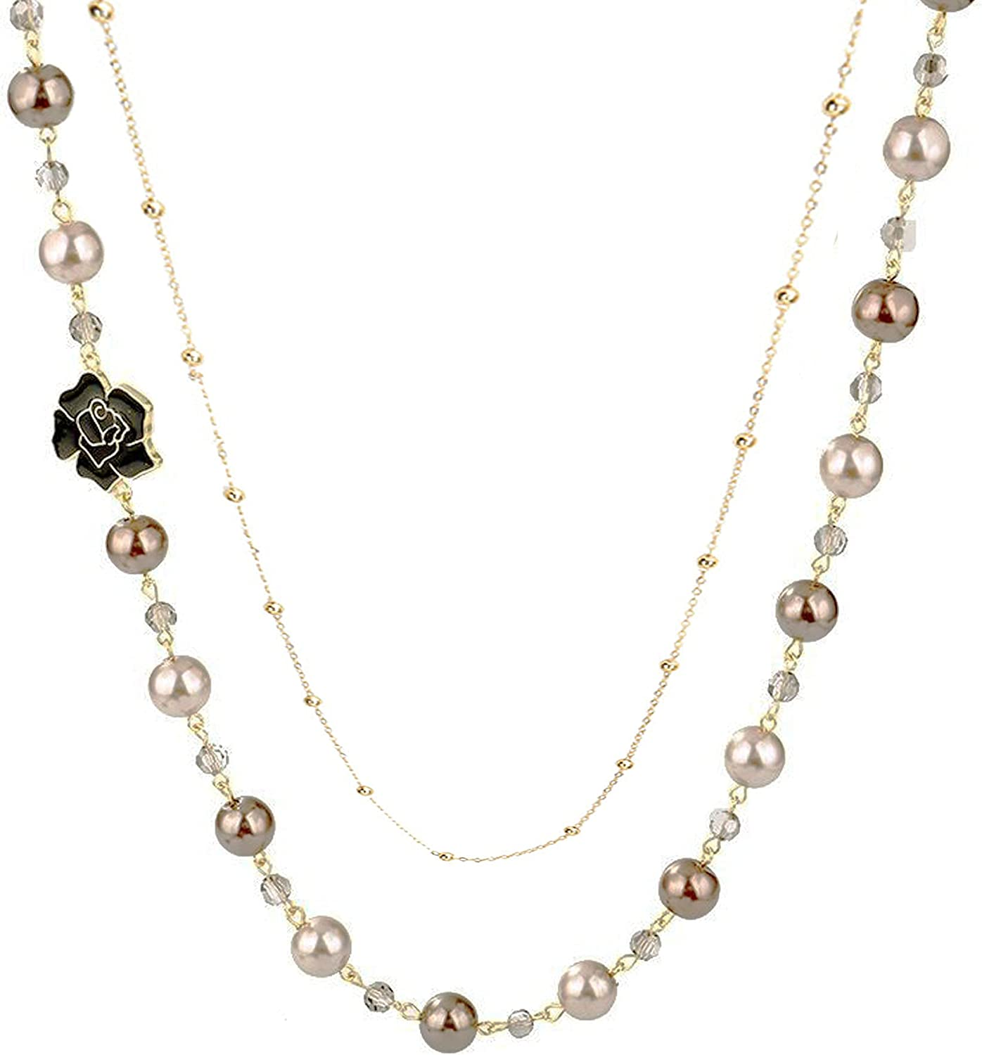 Bridal and Chic Long Imitation Pearl Camellia Flower Strand Double Layer Pendant Long Necklace for Women