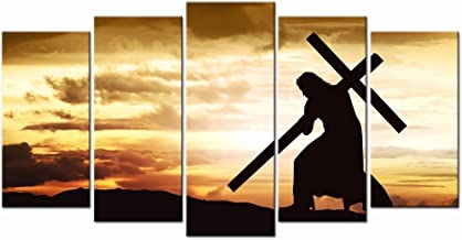LevvArts - Large Canvas Print Wall Art Silhouette of Jesus Carry Cross on The Hill Picture Prints Gallery Wrap Ready to Hang Modern Home Decor,Sincere Belief