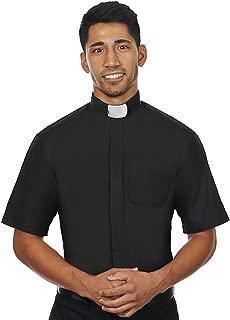 Men's Short Sleeves Tab Collar Clergy Shirt Black