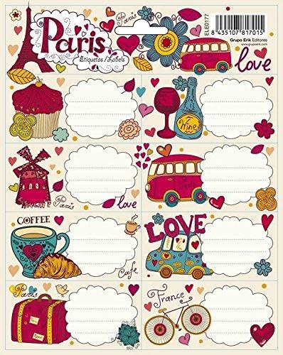 Erik ELE0184 - Pack de 16 etiquetas, diseño Paris