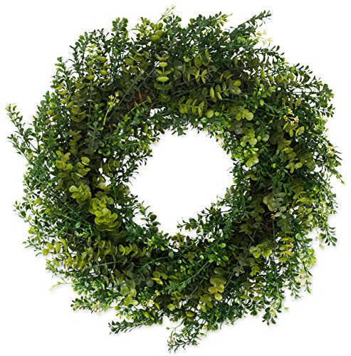 Arbor Artificial Boxwood Wreath 22 Inch- Full Year Round Outdoor Wreath Lasts for Years, Measures True to Size and Looks Great from The Street, Beautiful White Gift Box Included