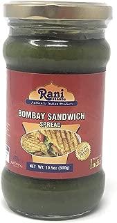 Rani Bombay Sandwich Spread, Mild (Mint & Coriander), Glass Jar, Ready to eat 10.5oz (300g) Vegan ~ Gluten Free   NON-GMO   Indian Origin