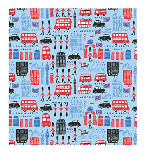Piccalilly Circus Blue London Theme Gift Wrapping Paper
