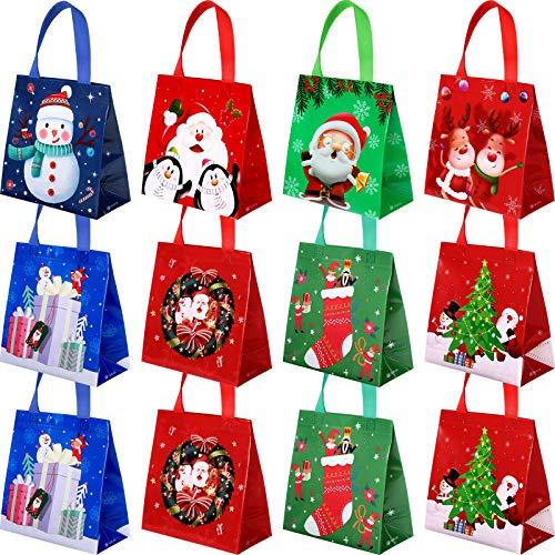 12 Pieces Christmas Bags Xmas Tote Christmas Santa Claus Elk Snowman Non-Woven Bags Present Treat Bags for Christmas Party Favor