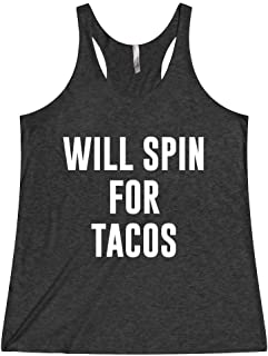 Women's Spin Class Workout Tank Top Shirt Clothes Will Spin For Tacos