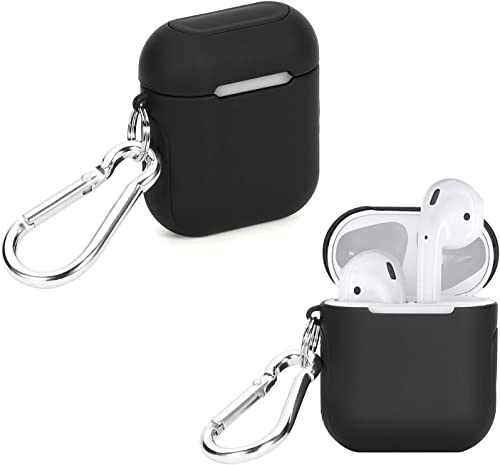 2021 WGear Featured Skin for Airpods, Elite outlet online sale case, Dual Layer Strong case with Soft Surface Feature, new arrival Protecting Airpods Charger Box from Drop, Scratch, Detachable Wrist Strap and Carabiner (Black) outlet sale