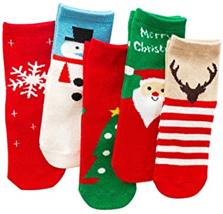 TOYANDONA, 5 pares de calcetines navideños para niños calcetines cálidos de invierno con algodón patrón de elemento navideño favores de la fiesta de navidad regalos tamaño rojo m