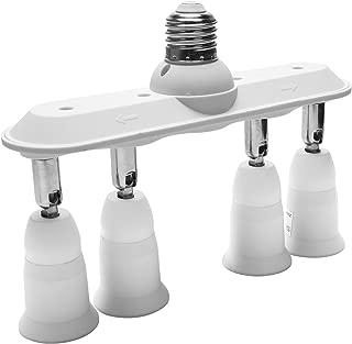 Light Socket Splitter JACKYLED 4 in 1 E26 E27 Adapter Converter Horizontal Designed 360 Degrees Adjustable 180 Degree Bendable