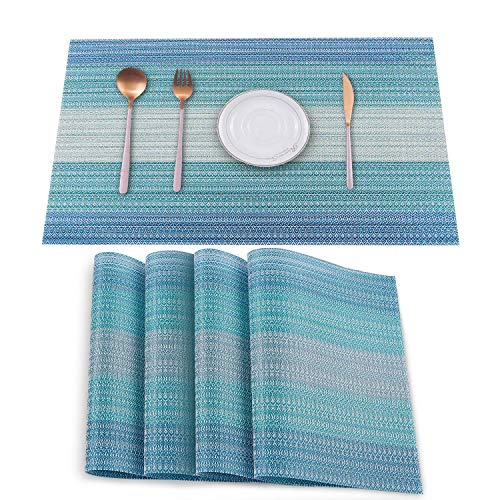 HeloHo Blue Placemats Set of 4,Heat-Resistant Kitchen Table Mats Washable Placemats Non-Slip Crossweave Woven Vinyl Placemat for Dining Table