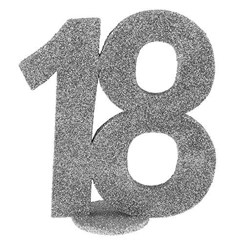 cama24com XXL Tischdeko Zahl 18 Geburtstag Silber Glitzer 1 Stück Party-Deko mit Palandi® Sticker