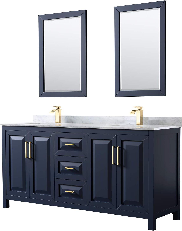 Daria Al sold out. 72 Inch Double Bathroom Vanity Raleigh Mall Dark Carrara Blue in White