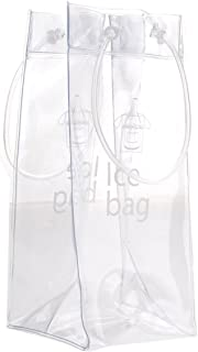 Akak Store 1 Pcs Portable Collapsible Clear Transparent PVC Ice Bag Champagne Wine Pouch Cooler Bag with Handle