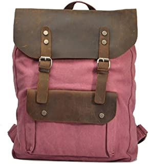 Casual Style Canvas Leather Trekking Rucksack Outdoor Practical Large Hiking Backpack (Color : Red, Size : L:33 * 10 * 45cm)