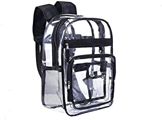 2019 Clear Backpack Transparent Knapsack Students School Bag PVC Rucksack with Reinforced Straps for School, Security, Stadiums, Work