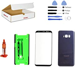 (md0410) Front Outer Glass Lens, Orchid Gray Grey Back Cover Replacement Compatible Galaxy S8 Plus G955 + Adhesive + Opening Tool (LCD & Digitizer Not Included)