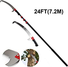 BHDYHM Telescopic Pruner with Saw Telescopic Tree Pruner Foot Pole Pruning Saw/Long Extension Pole Saw/Telescopic Tree Pruner Pole/Extendable Limb Saw and Trimmer 24FT / 7.2M