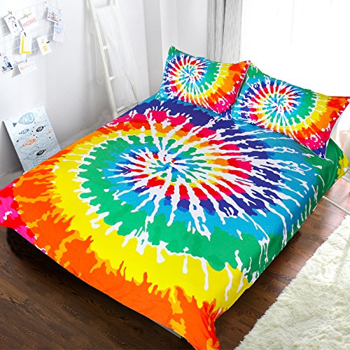 BlessLiving Rainbow Tie Dye Bedding Colorful Tye Dye Duvet Cover Psychedelic Watercolor Artsy Bedding 3 Piece Art Bedspread (Double)