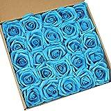 N&T NIETING Lot de 25 roses artificielles, Mousse de latex., bleu sarcelle, 7,6cm