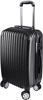 """Yescom 20"""" Luggage Rolling ABS Hard Shell Lightweight Travel Suitcase 360 Degree 4 Wheels Lockable Trolley Black"""