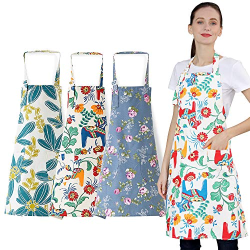 3 PCS Cooking kitchen Baking Aprons for Women with Pockets Vintage Cotton Linen 01