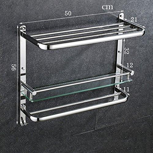 Bathroom Rack YSJ Verre trempé fixé au Mur en Verre rectangulaire d'étagère de Salle de Bains Extra épais, Sable argenté pulvérisé, (Taille : 50 * 21 * 56cm)