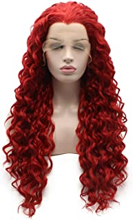 Iewig Long Curly Red Synthetic Lace Front Wig Half Hand Tied Heat Friendly Wig