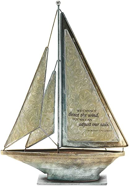 We Can Adjust Our Sails Bertha Calloway 12 X 9 5 Metal Table Top Sailboat Figurine Decoration