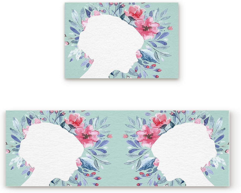 Libaoge Non-Skid Slip Rubber Backing Kitchen Mat Runner Area Rug Doormat Set, Floral Doormats, Handfree pink and Lady Silhouette Carpet Indoor Floor Mats Door 2 Packs, 19.7 x31.5 +19.7 x63