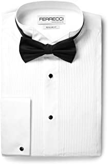 Ferrecci Men's Max White Regular Fit Wing Tip Collar Pleated Tuxedo Shirt with Bowtie