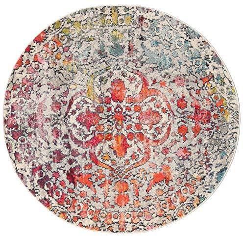 RugVista Teppich Kaleidoscope, Kurzflor, Ø 150 cm, Rund, Modern, Öko-Tex Standard 100, Polypropylen, Schlafzimmer, Wohnzimmer, Mehrfarbig