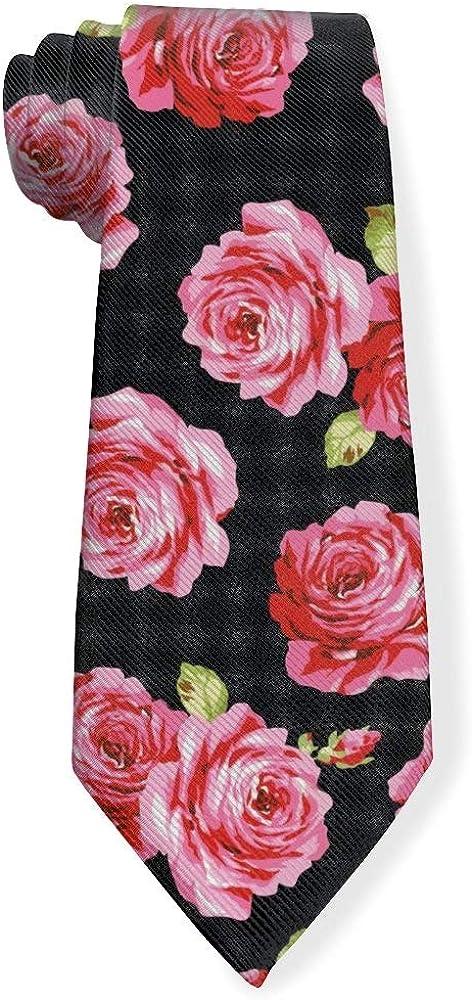 Beautiful Rose Flower Pattern Mens Classic Color Slim Tie, Men's Neckties, Fashion Boys Cravats