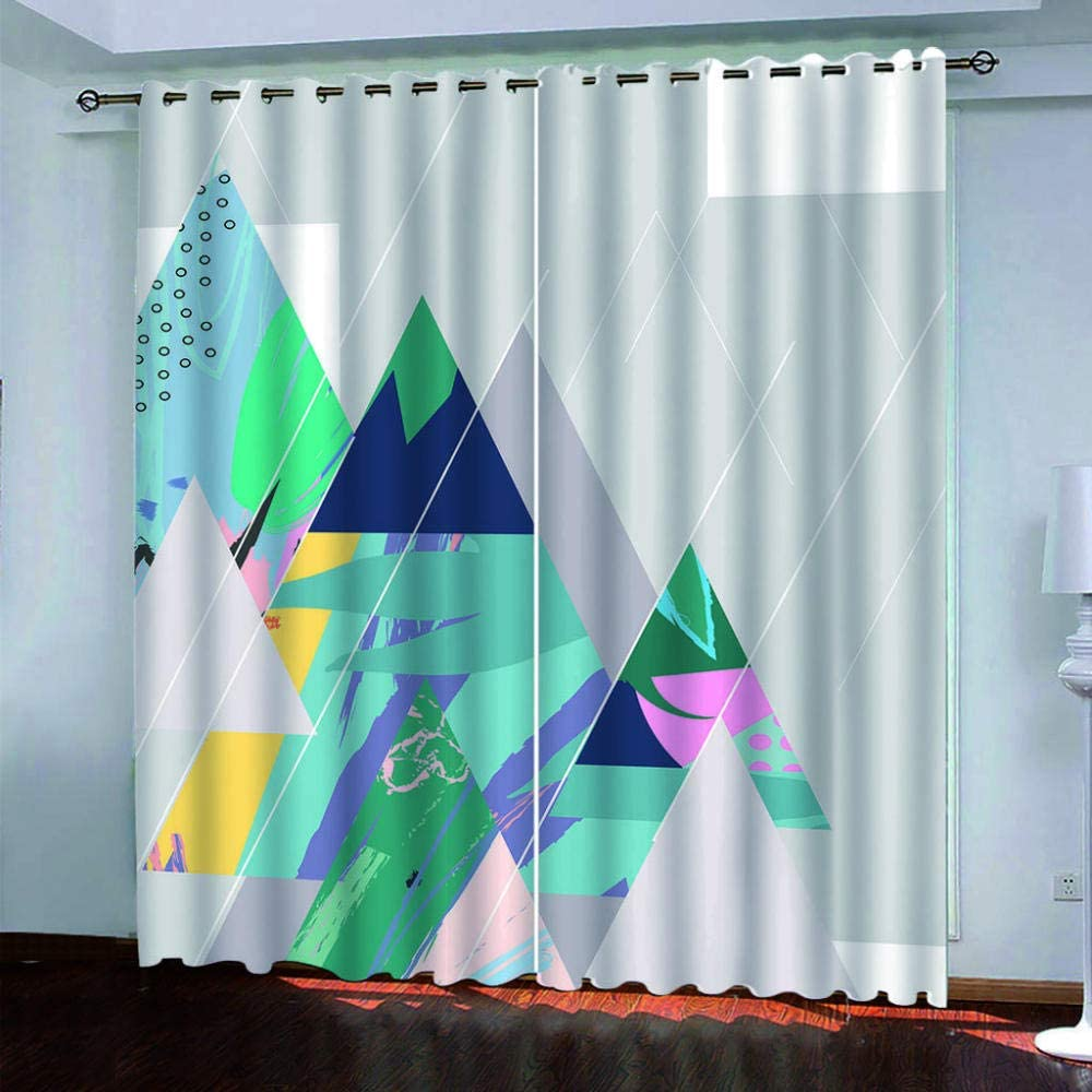 Spring new work one after another SDSONIU Nursery Max 84% OFF Curtains 3D Colorful Geometric Printing Drapery