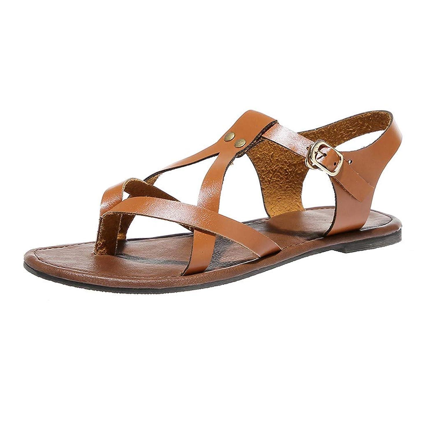COOlCCI_2019 Women's Flat Sandal Criss-Cross Open Toe Wide Elastic Strap Fashion Summer Shoes Slippers