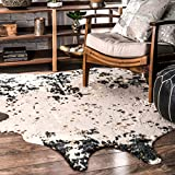 nuLOOM Iraida Faux Cowhide Shaped Area Rug, 5' x 6' 7', Black