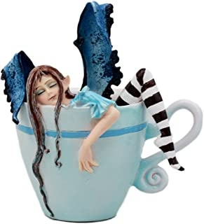 Ebros Gift Amy Brown Teacup Latte Coffee Drunk Fairy Figurine Fantasy Mythical Faery Magic Watercolor Collectible Decor Statue Gift Ideas for Women Teen Girls Fairy Garden DIY Art Centerpiece