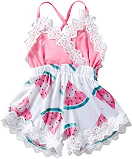 MetCuento Baby Girl Clothes Lace Edge Newborn Girls Summer Onesies Jumpsuit Outfit Pink