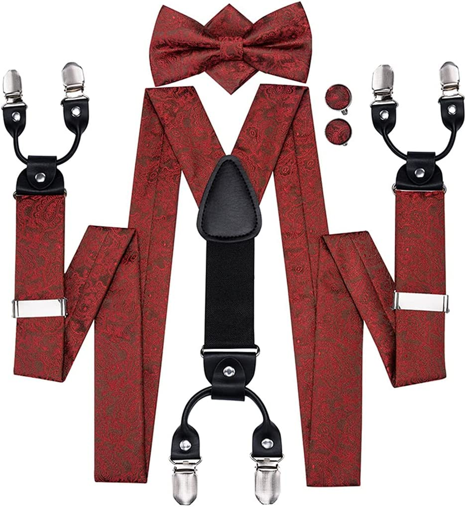 GYZX Adult Men's Suspenders Bow Tie Leather Metal 6 Clips Braces Vintage Red (Color : A, Size : Adjustable)