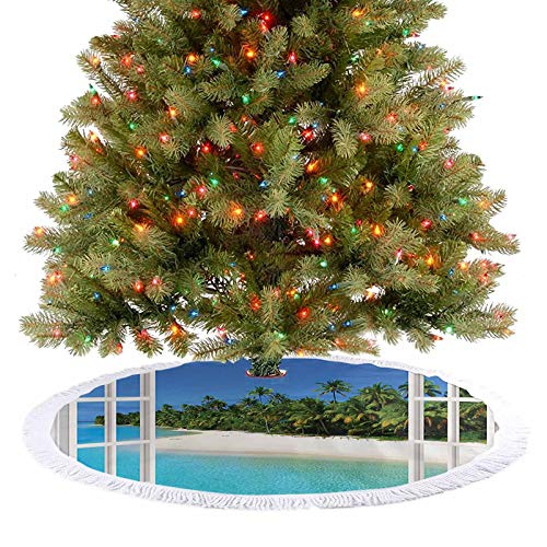 Adorise Xmas Tree Skirts Paradise Island View from Gazebo Palm Tree Beach Theme Pictures Arts Blue Green Xmas Party Holiday Decorations A Contemporary Look and Appeal - 48 Inch