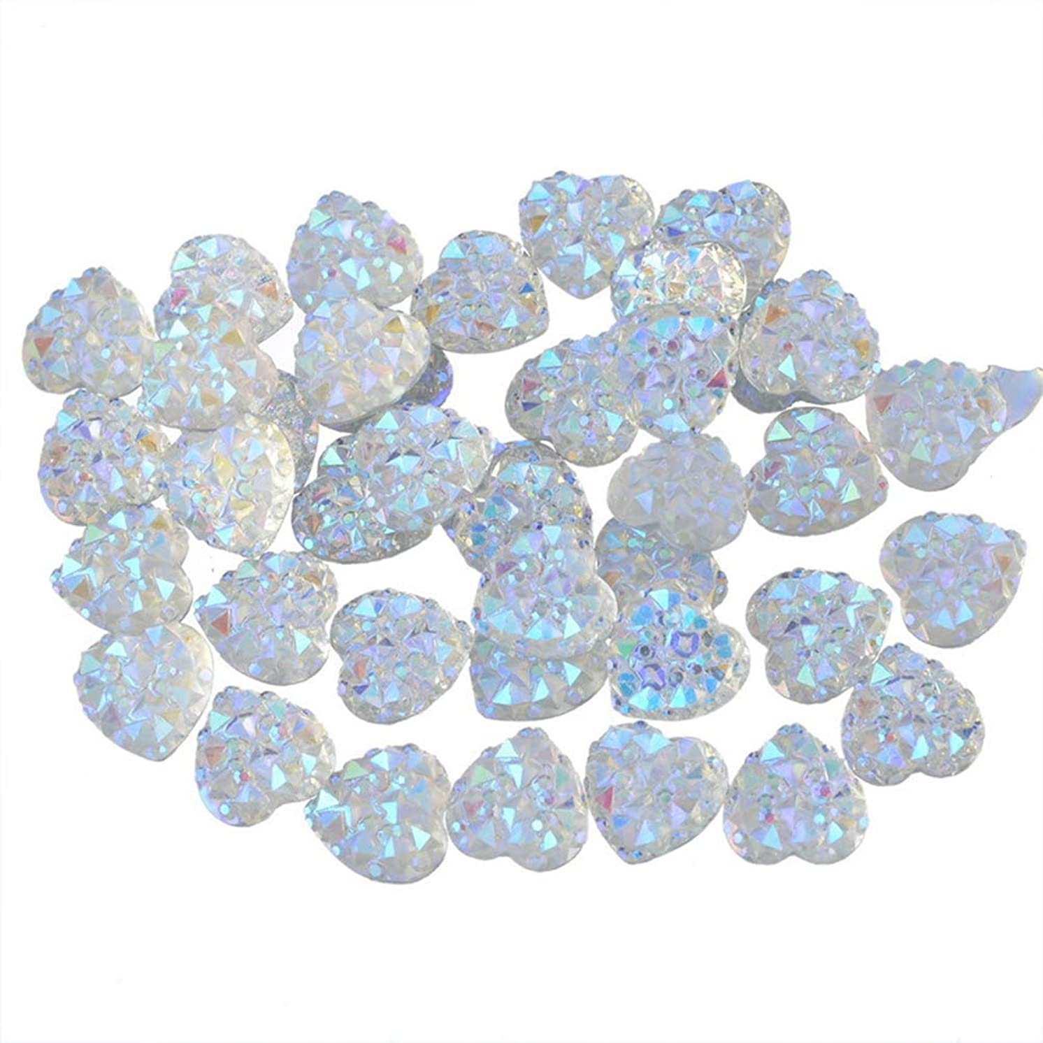 PH PandaHall About 100pcs White 9.5mm Heart Flat Back Resin Cabochons Sparkly Glitter for Setting Bezel Tray Pendant Charms